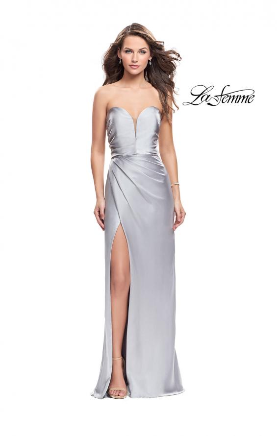 Picture of: Long Strapless Satin Prom Dress with Side Ruching, Style: 26017, Detail Picture 4