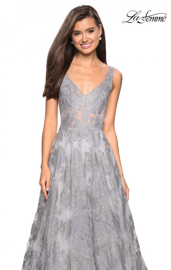 Picture of: Floral A Line Dress with Sheer Bodice and V Back in Silver, Style: 27505, Detail Picture 4