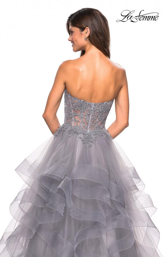 Picture of: Strapless Tulle Prom Gown with Lace Embellishments in Silver, Style: 27620, Detail Picture 4