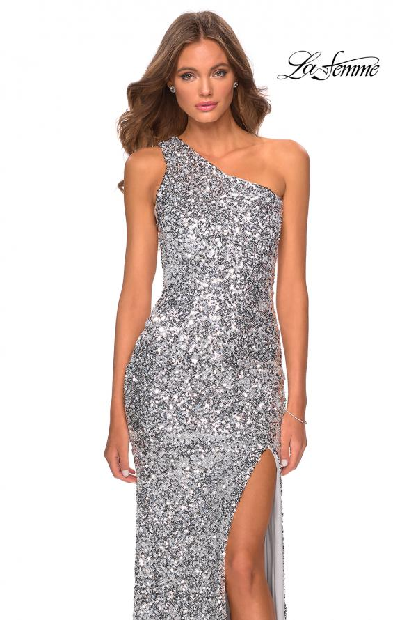 Picture of: Glamorous One Shoulder Sequin Prom Gown in Silver Style: 28596, Detail Picture 4