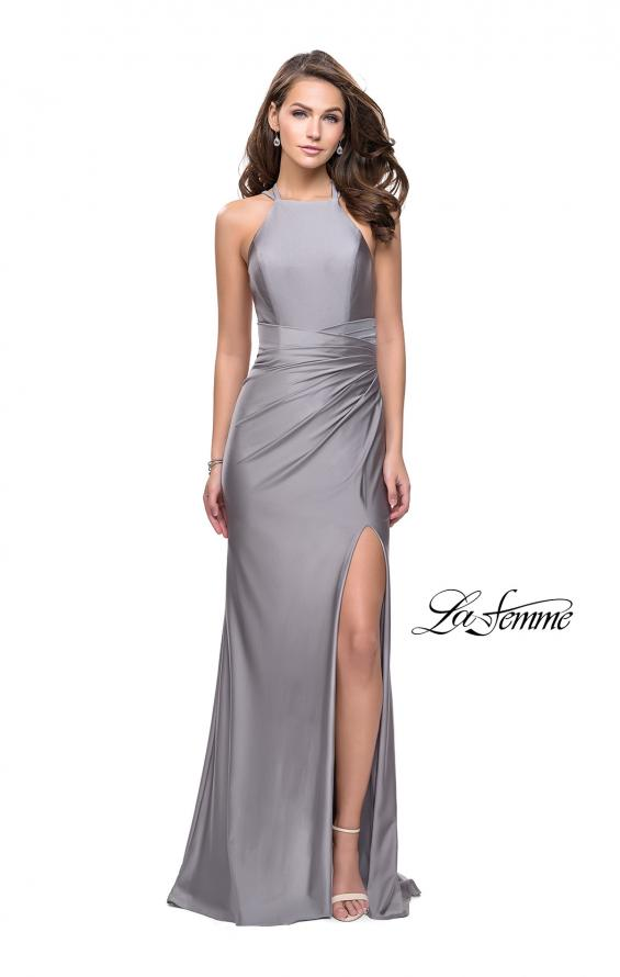 Picture of: High Neck Long Form Fitting Gown with Ruching, Style: 26141, Detail Picture 5