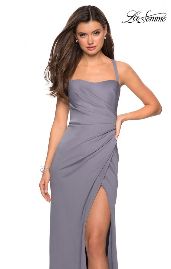 Picture of: Long Jersey Gown with Size Ruching and Slit in SIlver, Style: 27470, Detail Picture 5