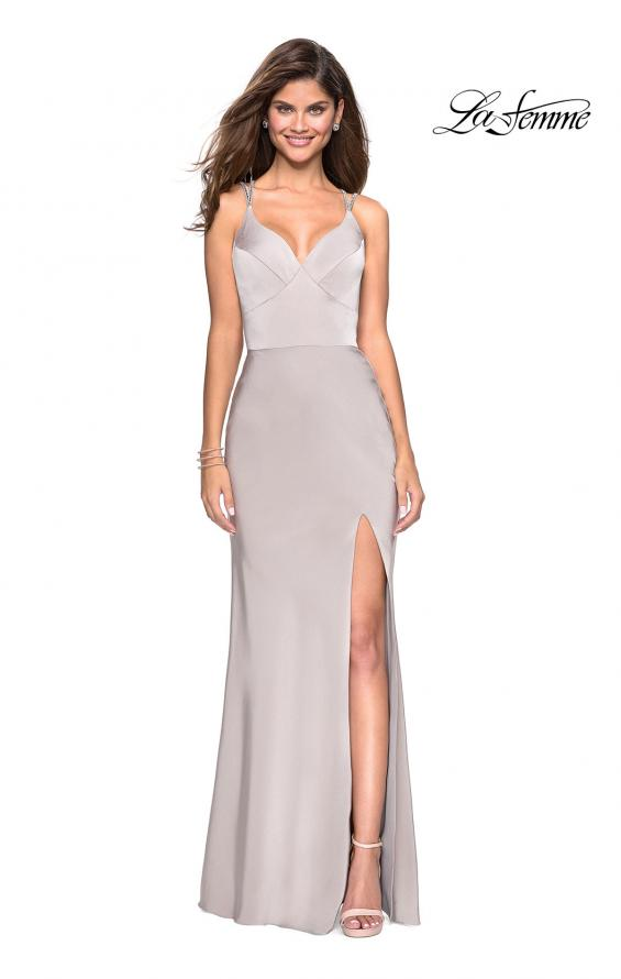 Picture of: Form Fitting Prom Dress with Slit and Beaded Straps in Silver, Style: 27519, Detail Picture 5