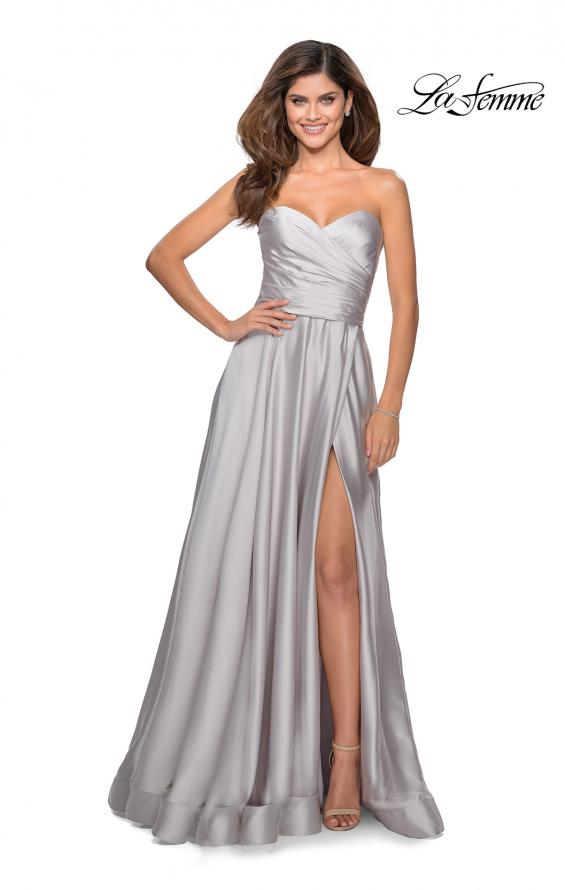 Picture of: Strapless Satin Gown with Pleated Bodice and Slit in Silver, Style: 28608, Detail Picture 5