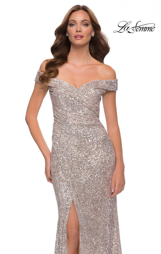 Picture of: Off the Shoulder Ruched Sequin Dress with Slit in Silver, Style 29831, Detail Picture 5