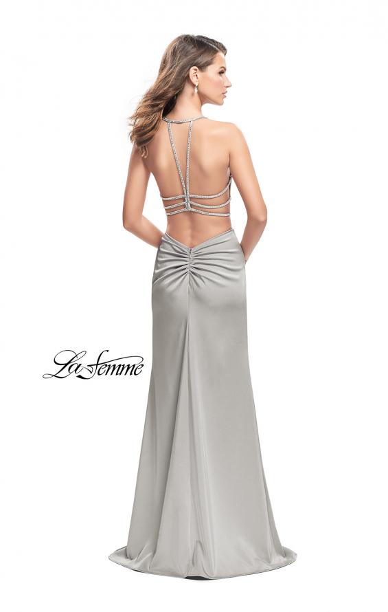 Picture of: Long Jersey Prom Dress with Plunging Neckline and Beading in Silver, Style: 25398, Detail Picture 6
