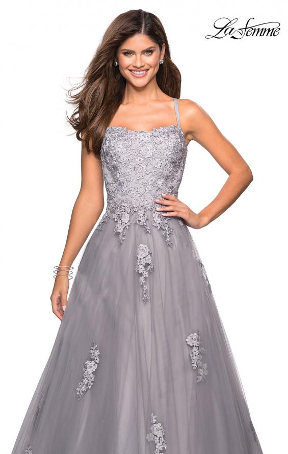 Picture of: Floor Length Tulle Ball Gown with Lace Accents, Style: 27441, Detail Picture 6