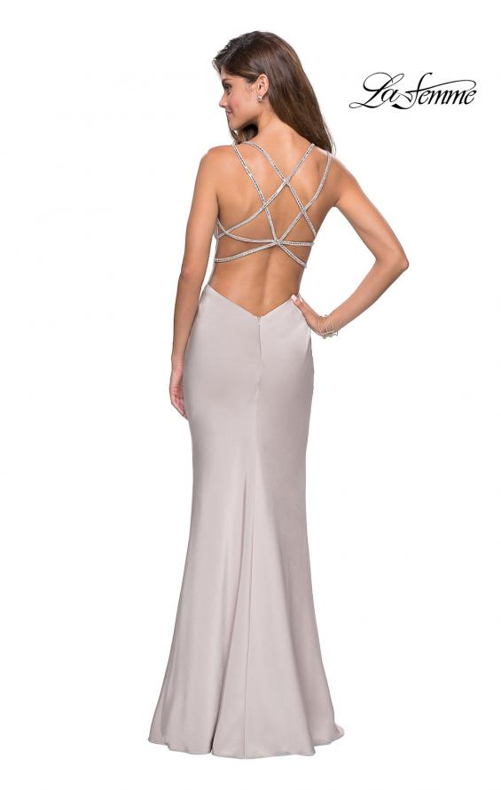 Picture of: Form Fitting Prom Dress with Slit and Beaded Straps in Silver, Style: 27519, Detail Picture 6