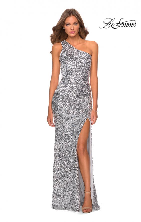 Picture of: Glamorous One Shoulder Sequin Prom Gown in Silver, Style: 28596, Detail Picture 6
