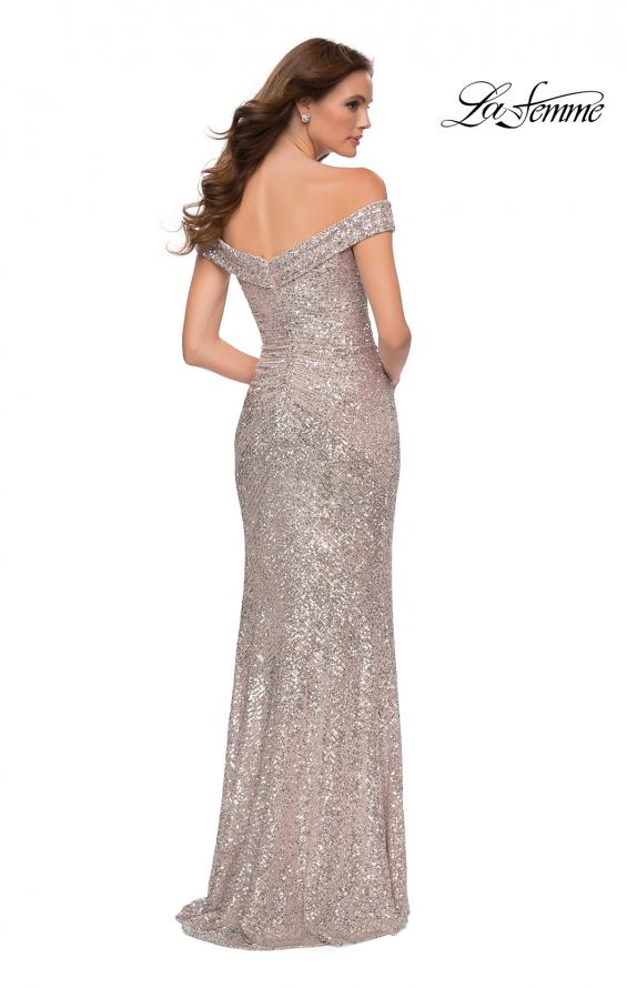 Picture of: Off the Shoulder Ruched Sequin Dress with Slit in Silver, Style 29831, Detail Picture 6