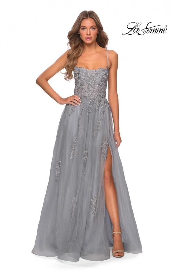 Picture of: A-line Tulle Gown with Floral Embroidery and Pockets in Silver, Style: 28470, Detail Picture 7