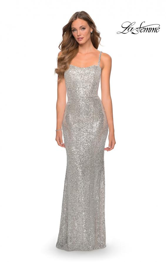 Picture of: Long Sequin Prom Dress with Straight Neckline in Silver, Style: 28698, Detail Picture 7
