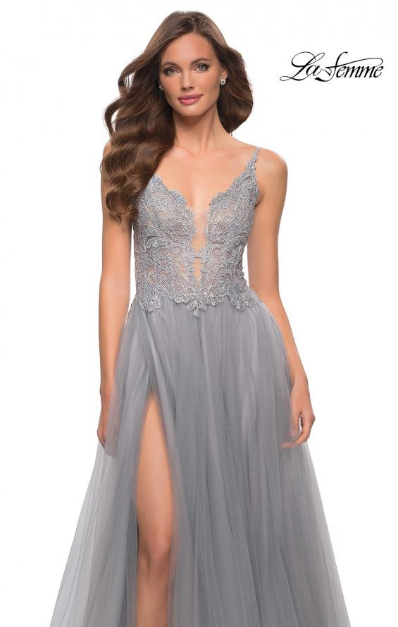 Picture of: Tulle A Line Gown with Lace Rhinestone Bodice in Silver, Style 29686, Detail Picture 7