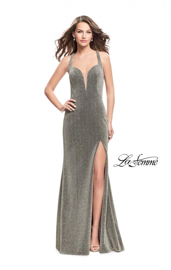Picture of: Form Fitting Jersey Gown with Leg Slit and Open Back in Silver Gold, Style: 25901, Main Picture