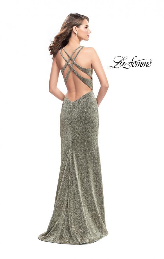 Picture of: Form Fitting Jersey Gown with Leg Slit and Open Back in Silver Gold, Style: 25901, Back Picture