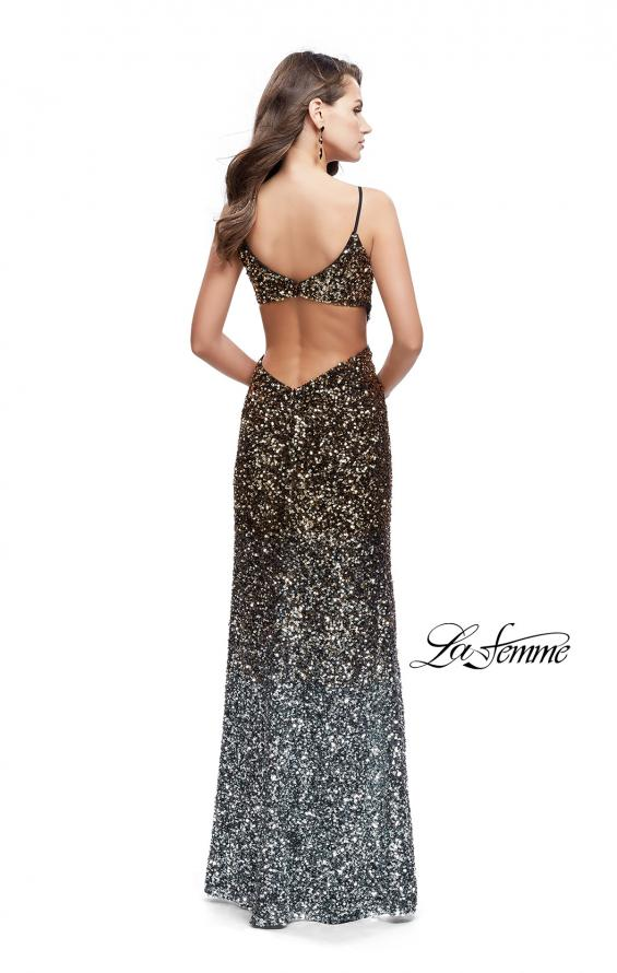 Picture of: Long Ombre Sequin Prom Dress with Side Leg Slit in Silver Gold, Style: 26000, Back Picture