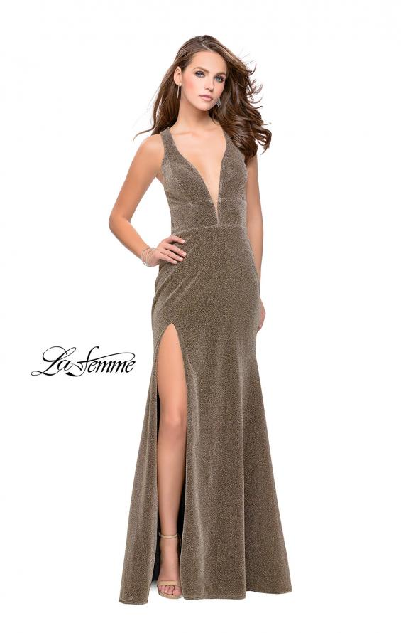 Picture of: Long Jersey Prom Dress with Racer Back and V Neckline, Style: 25882, Detail Picture 2