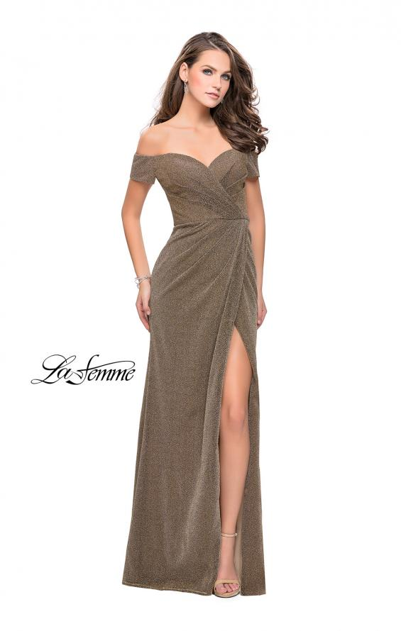 Picture of: Off the Shoulder Prom Dress with Wrap Side Leg Slit, Style: 25955, Detail Picture 3