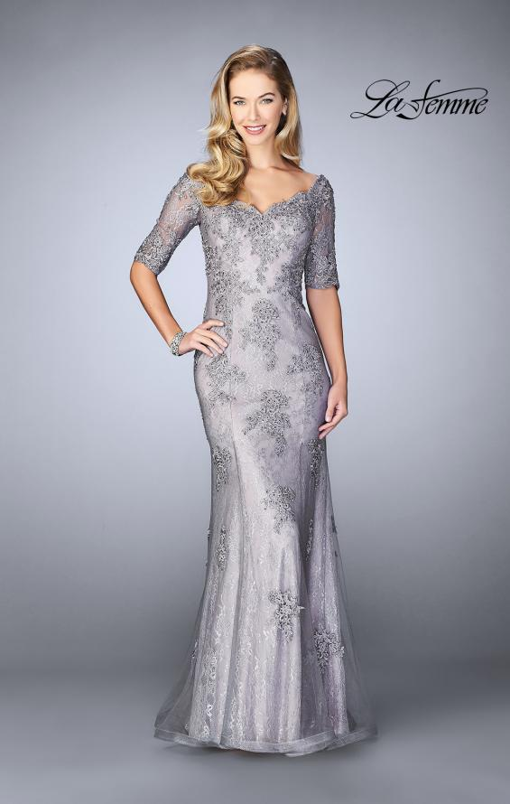 Picture of: Long Prom Gown with Scattered Lace Overlay, Style: 24866, Main Picture