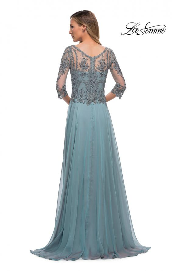 Picture of: Chiffon Dress with Sheer Lace Three-Quarter Sleeves in Slate Blue, Back Picture