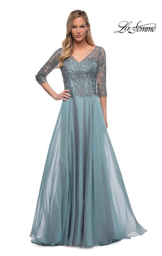 Picture of: Chiffon Dress with Sheer Lace Three-Quarter Sleeves in Slate Blue, Detail Picture 1