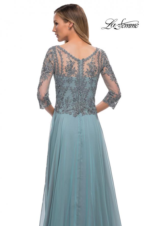 Picture of: Chiffon Dress with Sheer Lace Three-Quarter Sleeves in Slate Blue, Detail Picture 3