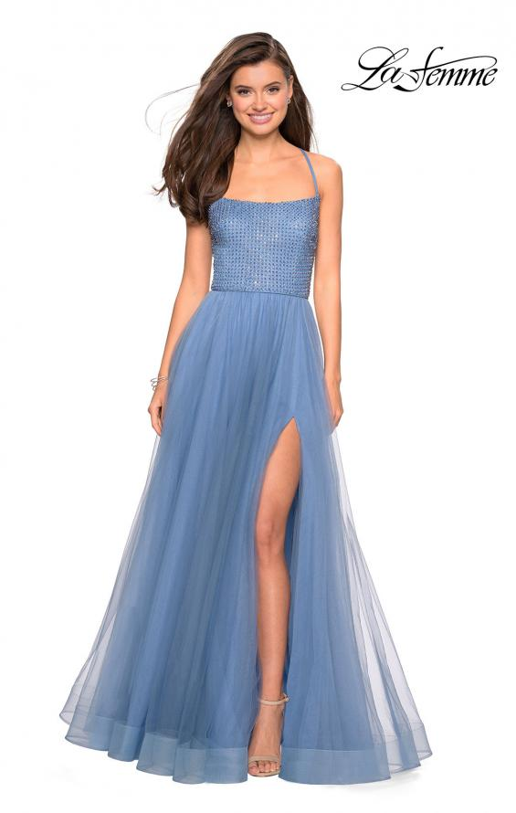 Picture of: Long A Line Tulle Prom Dress with Beading in Slate Blue, Style: 27668, Main Picture