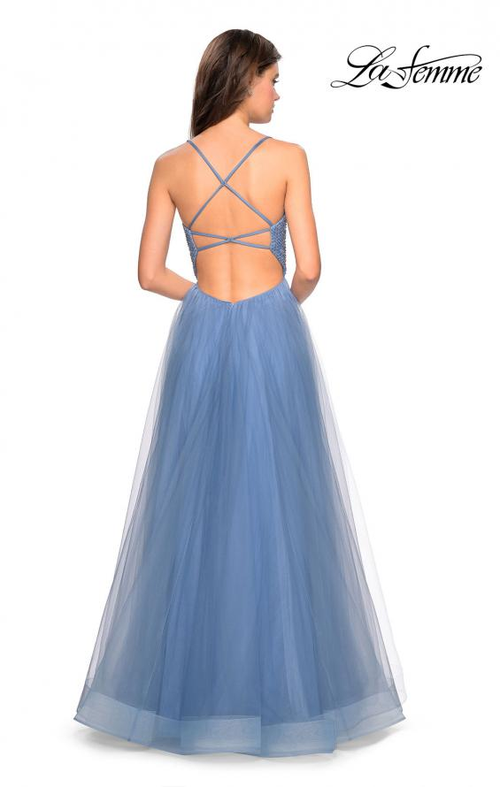 Picture of: Long A Line Tulle Prom Dress with Beading in Slate Blue, Style: 27668, Back Picture