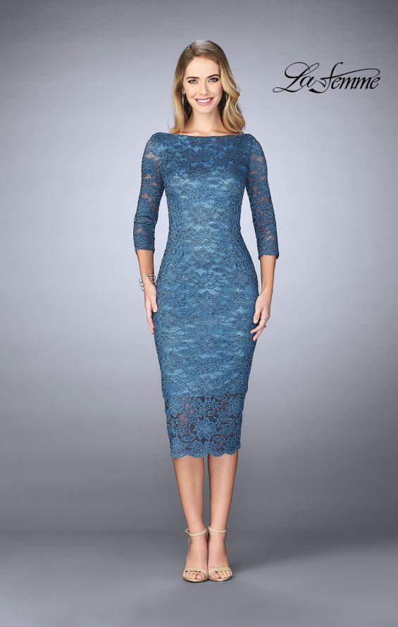 Picture of: Mid-Length Dress with Sleeves and Closed Back in Slate Blue, Style: 24875, Main Picture