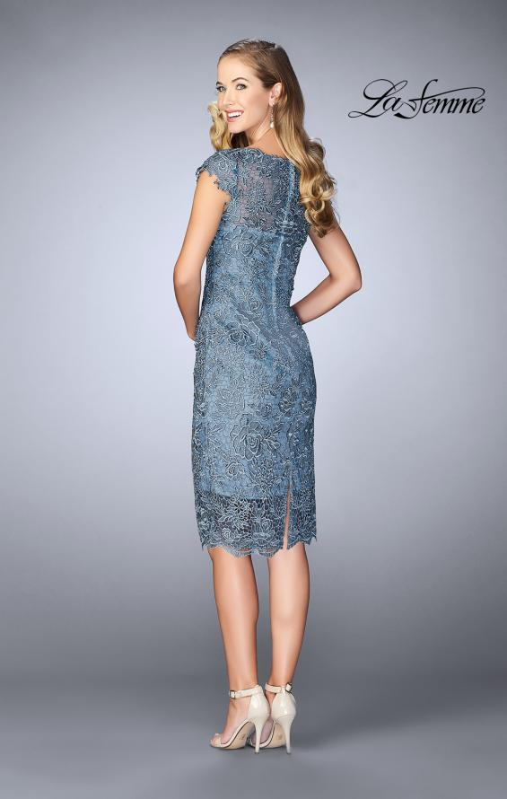 Picture of: Short Metallic Lace Dress with Sheer Top and Hem in Slate Blue, Style: 24861, Back Picture