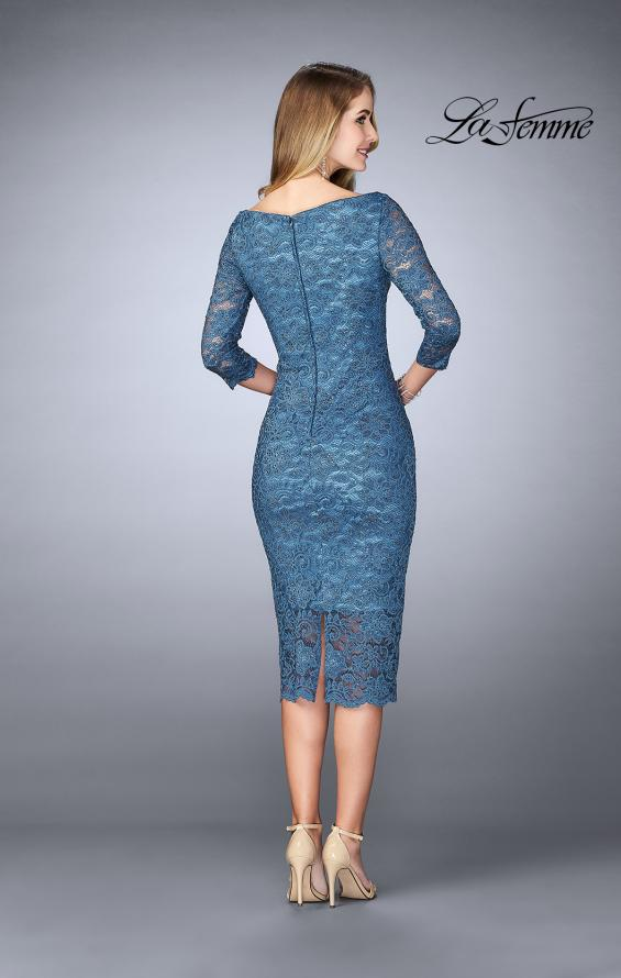 Picture of: Mid-Length Dress with Sleeves and Closed Back in Slate Blue, Style: 24875, Back Picture