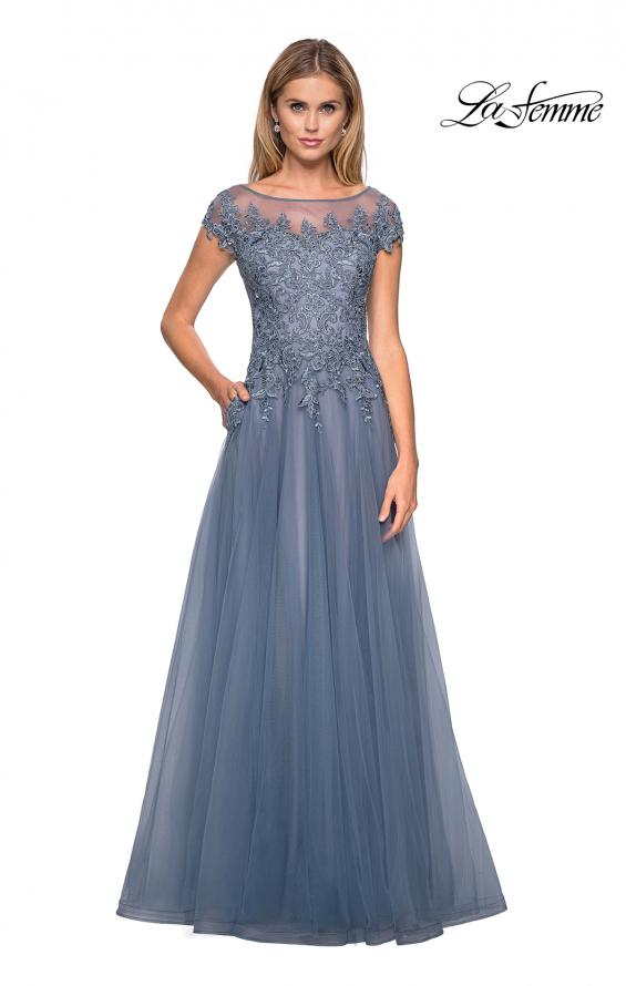 Picture of: Long Tulle Gown with Lace Bodice and Pockets in Smoky Blue, Style: 26893, Main Picture