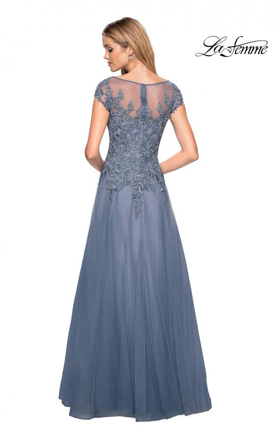 Picture of: Long Tulle Gown with Lace Bodice and Pockets in Smoky Blue, Style: 26893, Back Picture