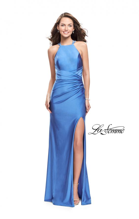 Picture of: High Neck Long Form Fitting Gown with Ruching, Style: 26141, Detail Picture 3