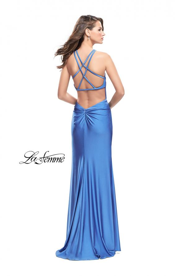 Picture of: High Neck Long Form Fitting Gown with Ruching, Style: 26141, Detail Picture 4