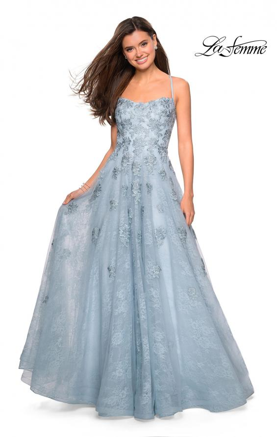 Picture of: Floor Length Lace Dress with Criss Cross Open Back in Steel Blue, Style: 27448, Detail Picture 1