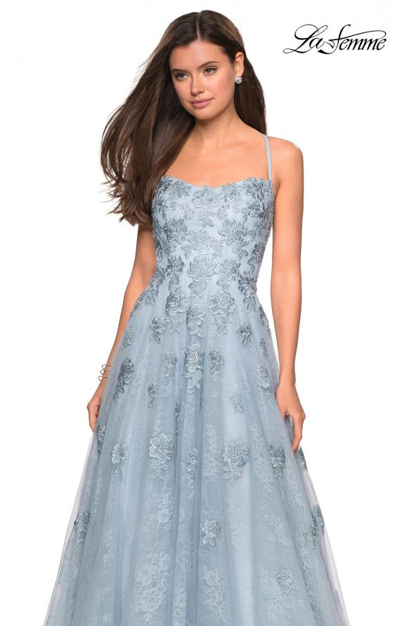 Picture of: Floor Length Lace Dress with Criss Cross Open Back in Steel Blue, Style: 27448, Detail Picture 2