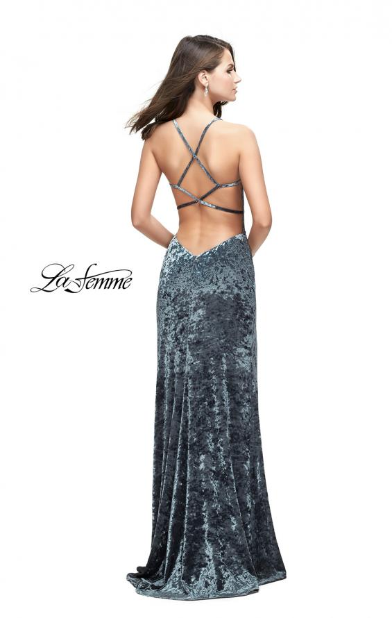 Picture of: Crushed Velvet Form Fitting Gown with Leg Slit and Open Back, Style: 25659, Back Picture