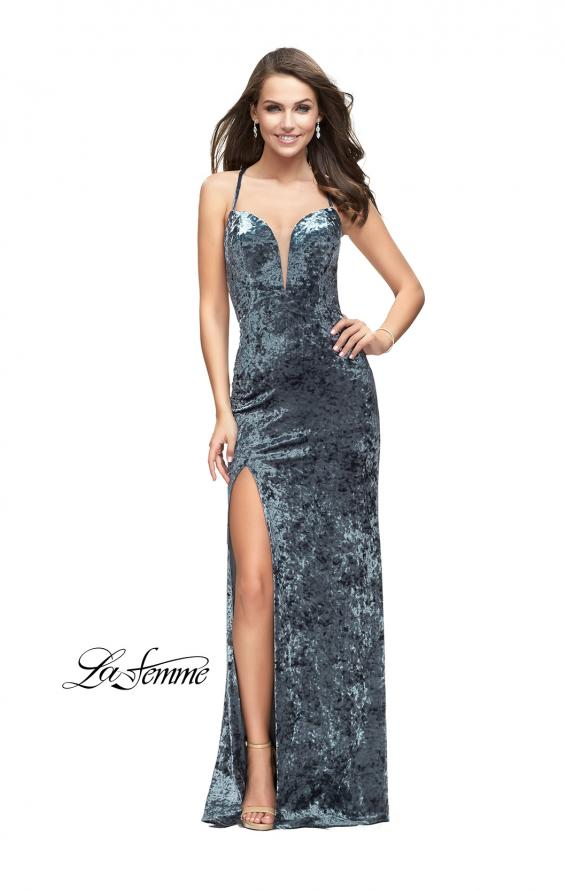 Picture of: Crushed Velvet Form Fitting Gown with Leg Slit and Open Back, Style: 25659, Detail Picture 1