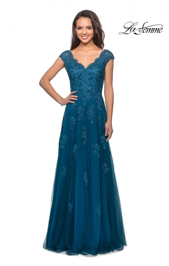 Picture of: Short Sleeve Lace Gown with Cascading Embellishments in Teal, Style: 26942, Detail Picture 5