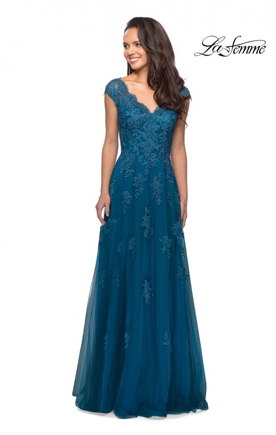 Picture of: Short Sleeve Lace Gown with Cascading Embellishments in Teal, Style: 26942, Detail Picture 7