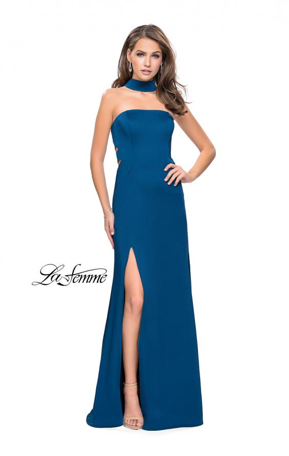 Picture of: Strapless Jersey Prom Dress with Attached Choker in Teal, Style: 25735, Main Picture