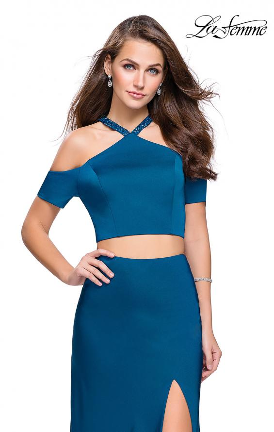 Picture of: Two Piece Long Prom Dress with Beaded Halter Top in Teal, Style: 25846, Main Picture