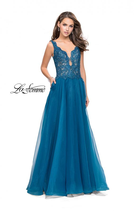 Picture of: Long A-line Prom Dress with Beaded Lace Bodice in Teal, Style: 25970, Main Picture