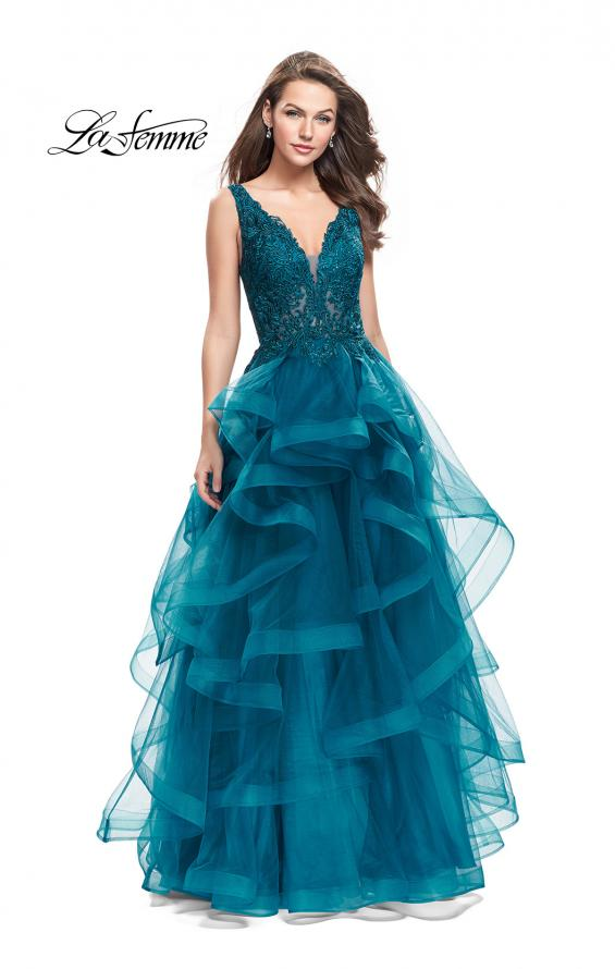 Picture of: Long Ball Gown with Cascading Ruffle Skirt and Lace, Style: 25982, Main Picture