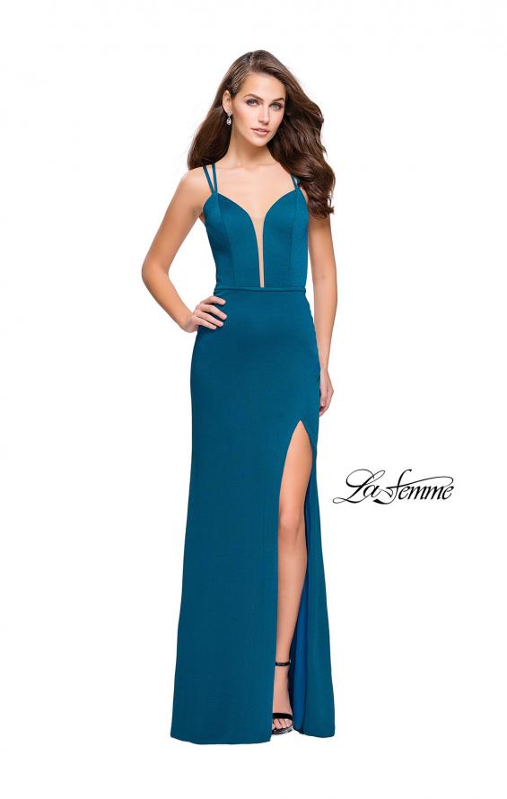 Picture of: Open Strappy Back Long Prom Dress with Deep V, Style: 26023, Main Picture