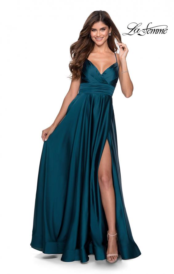 Picture of: Elegant Satin Prom Gown with Empire Waist in Teal, Style: 28571, Detail Picture 8