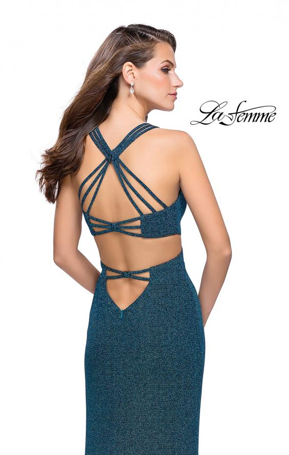 Picture of: Sparkly Jersey Dress with Side Cut Outs and Strappy Back, Style: 25258, Back Picture