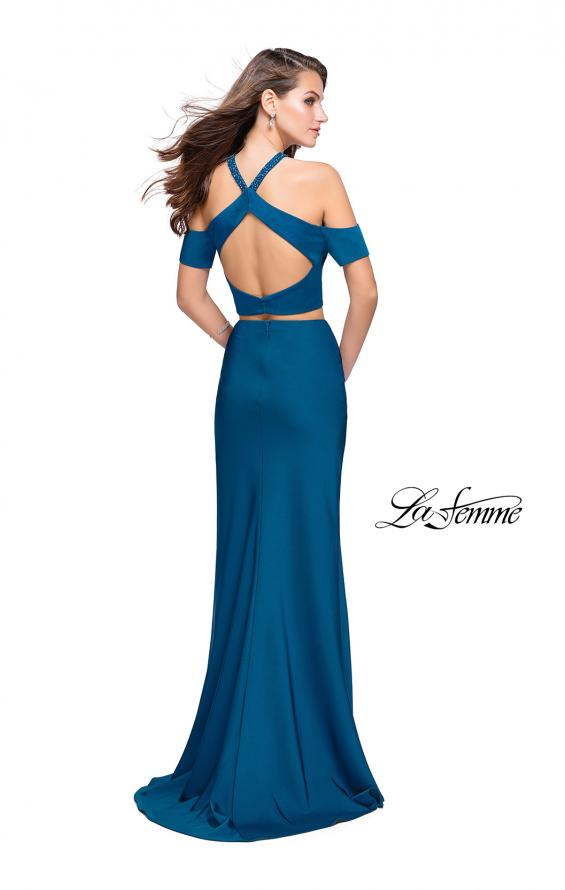 Picture of: Two Piece Long Prom Dress with Beaded Halter Top in Teal, Style: 25846, Back Picture