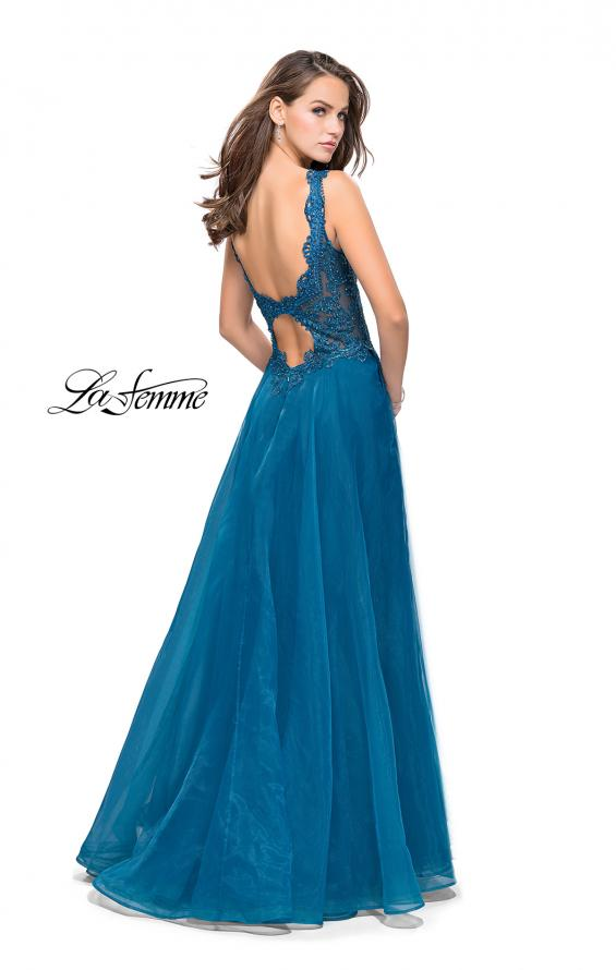 Picture of: Long A-line Prom Dress with Beaded Lace Bodice in Teal, Style: 25970, Back Picture